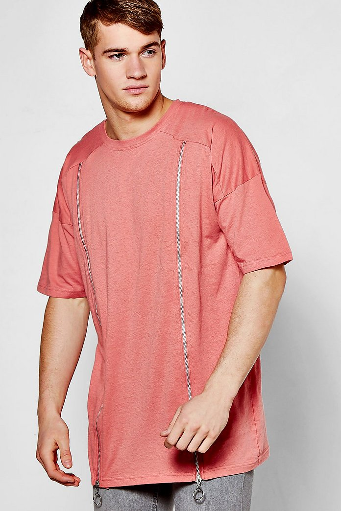 Oversized Drop Shoulder T-Shirt With Zip Detail