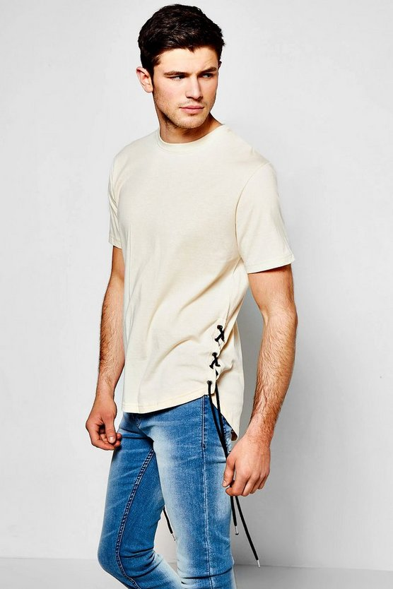 T-Shirt With Stepped Hem & Side Lace
