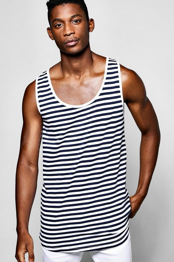 Longline Stripe Vest With Step Hem
