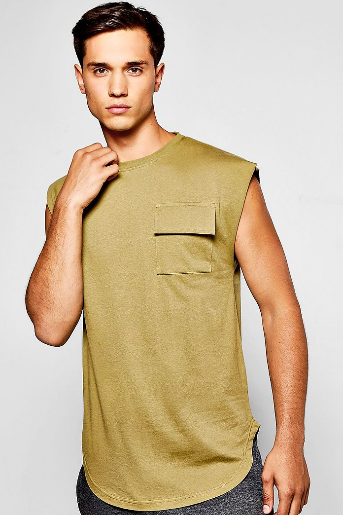 Military Pocket Vest With Drop Shoulder