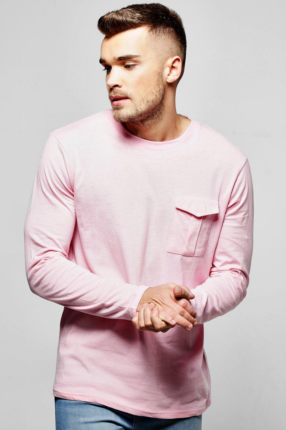 Long Sleeve Military Pocket T Shirt pink