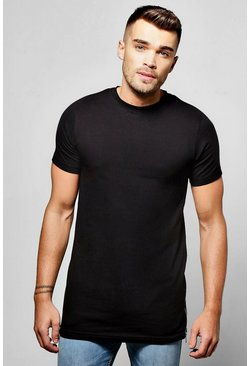 Longline Muscle T Shirt With Side Zip