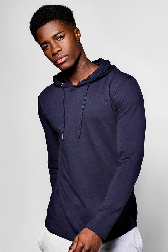 Longline Hooded T Shirt With Curved Hem