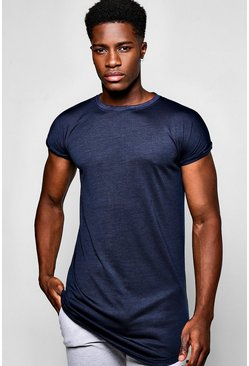 Longline Cap Sleeve T Shirt With Curved Hem