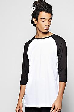 Contrast Raglan T Shirt With 3/4 Sleeves