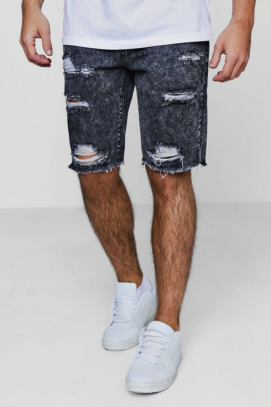 Slim Fit Acid Wash Distressed Denim Shorts