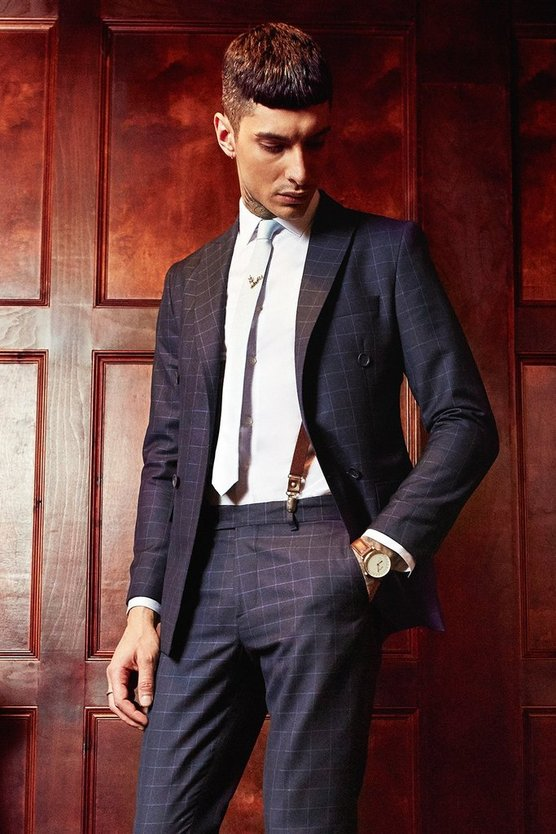 Slim Fit Double Breasted Suit Blazer