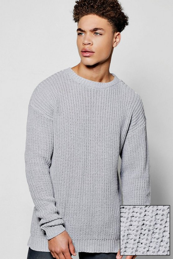 Oversized Fisherman Knit Jumper with Slouchy Sleeves