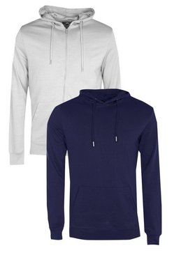 2 Pack Zip Through & Over The Head Hoodies