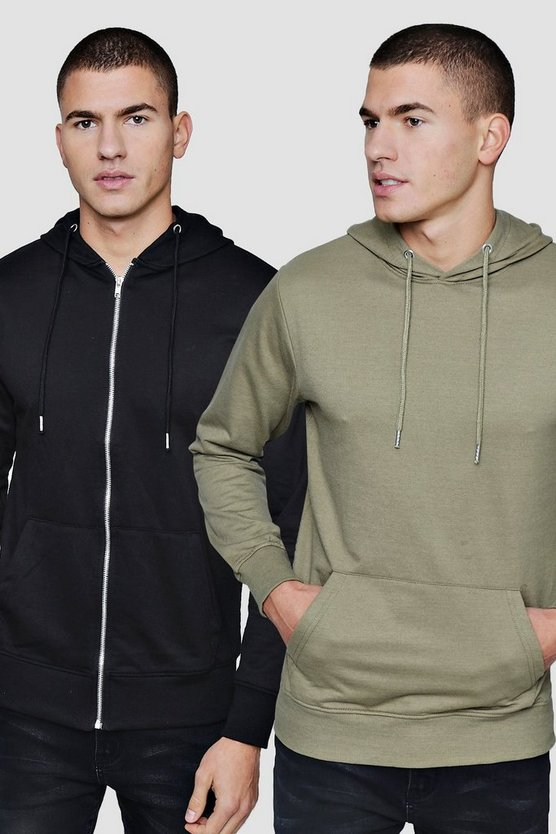 2 Pack Zip Through And Over The Head Hoodies