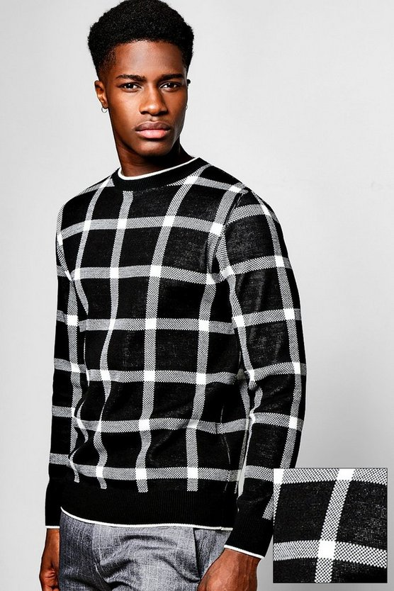 Window Pane Check Knitted Jumper