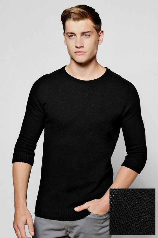 3/4 Raglan Sleeve Knitted Jumper