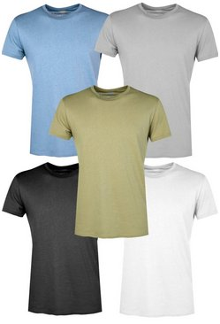 5 Pack Slim Fit Crew Neck T Shirts