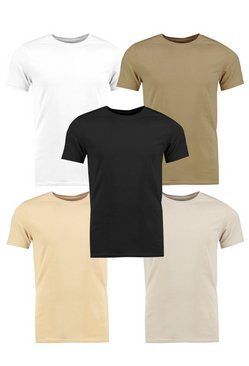 5 Pack Muscle Fit Crew Neck T Shirts