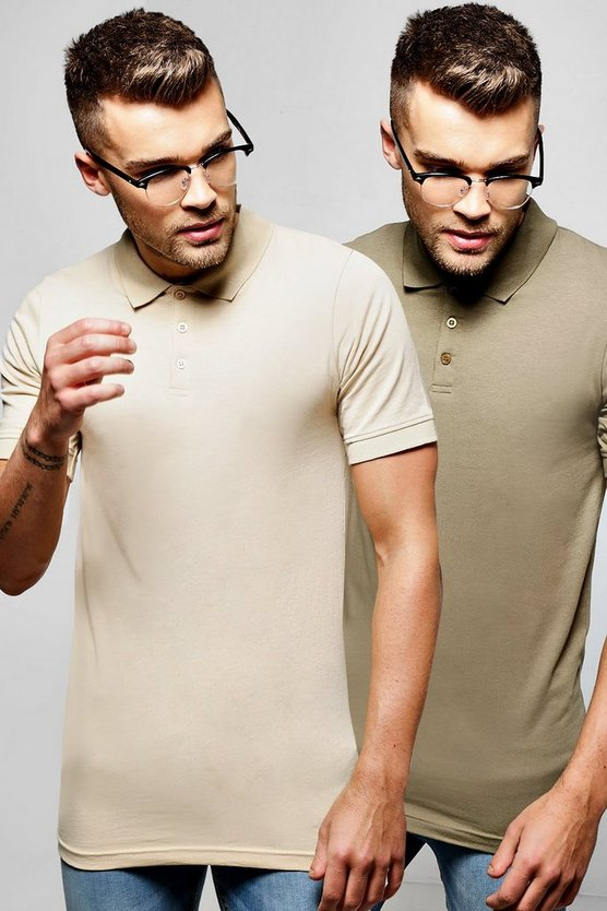 2 Pack Short Sleeve Jersey Polos in Muscle Fit