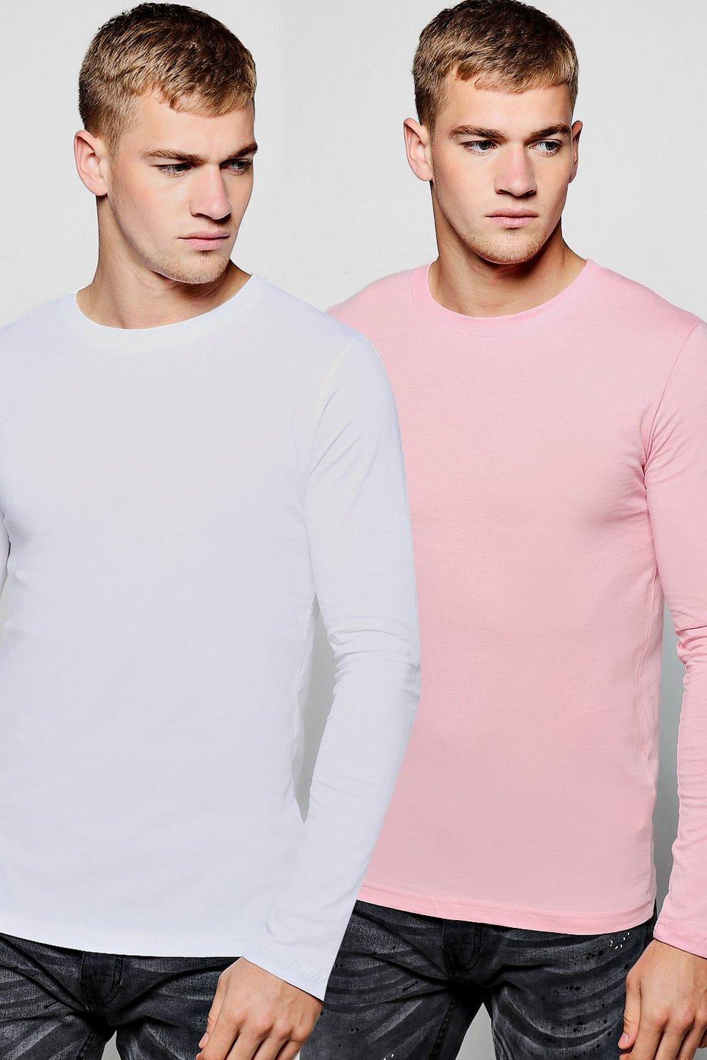 2 Pack Long Sleeve Crew Neck T Shirts | Boohoo