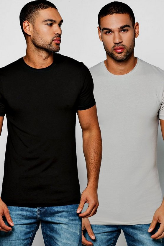 2 Pack Crew Neck T Shirts in Muscle Fit