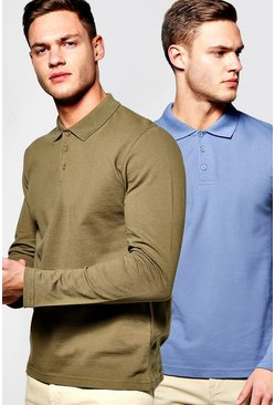 2 Pack Long Sleeve Pique Polos