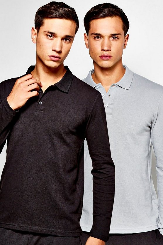 2 Pack Long Sleeve Pique Polos in Slim Fit