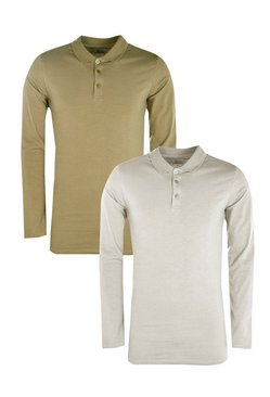 2 Pack Long Sleeve Muscle Fit Polos