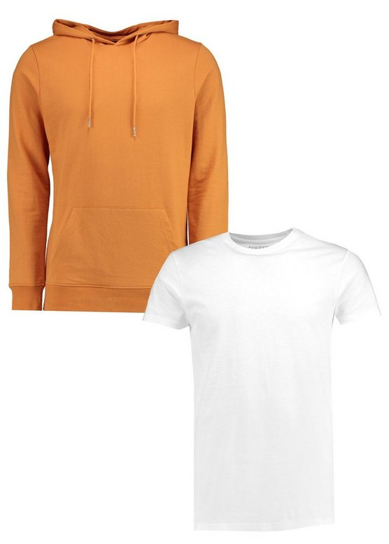 2 Pack Over The Head Hoodie And Longline T Shirt