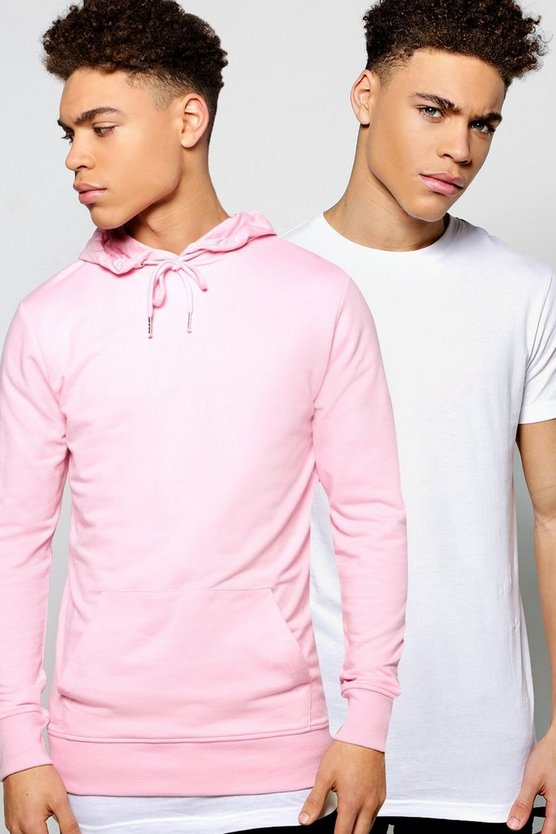 2 Pack Longline T Shirt & Over The Head Hoodie