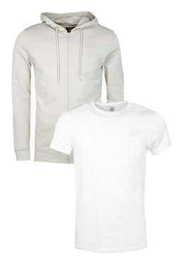 2 Pack Muscle Fit Zip Through Hoodie & T-Shirt