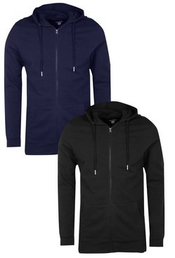 2 Pack Muscle Fit Zip Through Hoodies