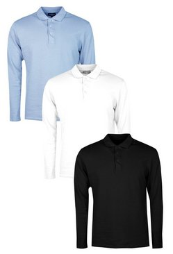 3 Pack Long Sleeve Muscle Fit Polos