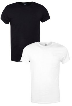2 Pack Muscle Fit T-Shirts With Logo