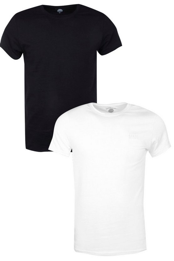 2 Pack MAN Embroidered T Shirts in Muscle Fit