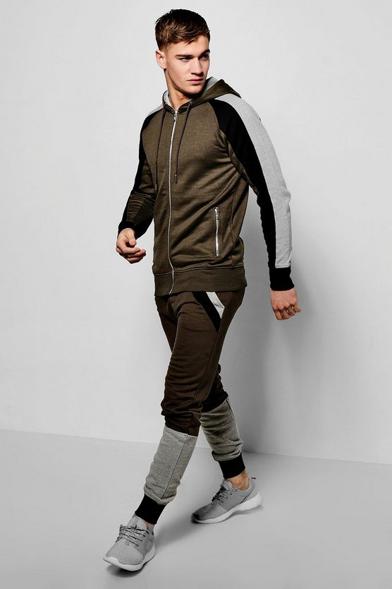Skinny Fit Panelled Tracksuit With Drop Crotch