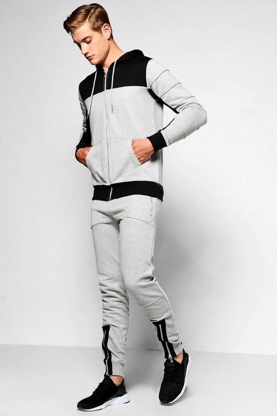 Skinny Fit Panel Tracksuit With Zip Front