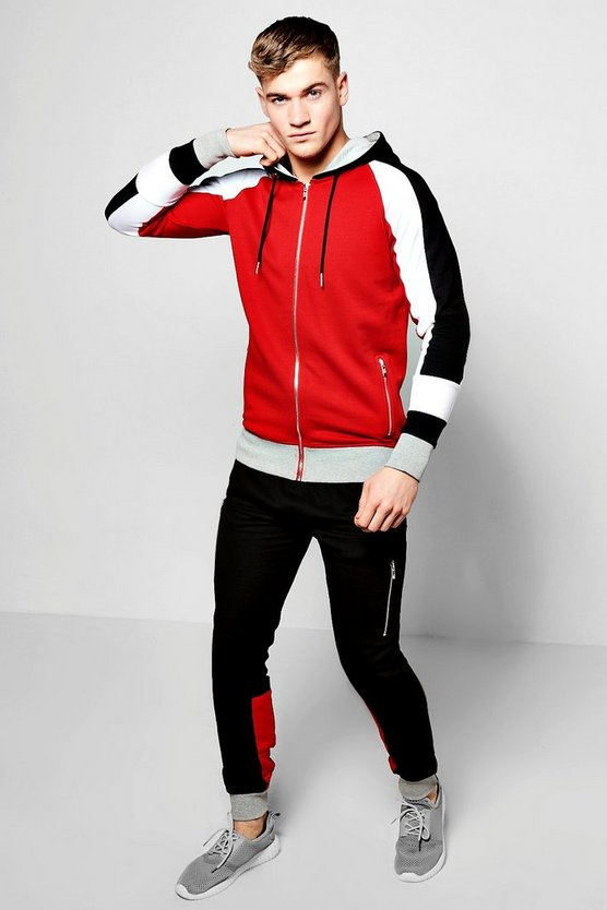 Colour Block Skinny Fit Tracksuit