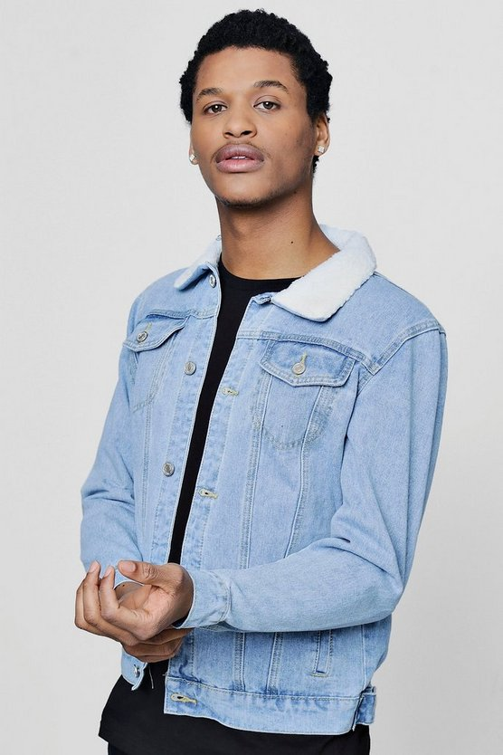 Borg Collar Pale Blue Denim Jacket