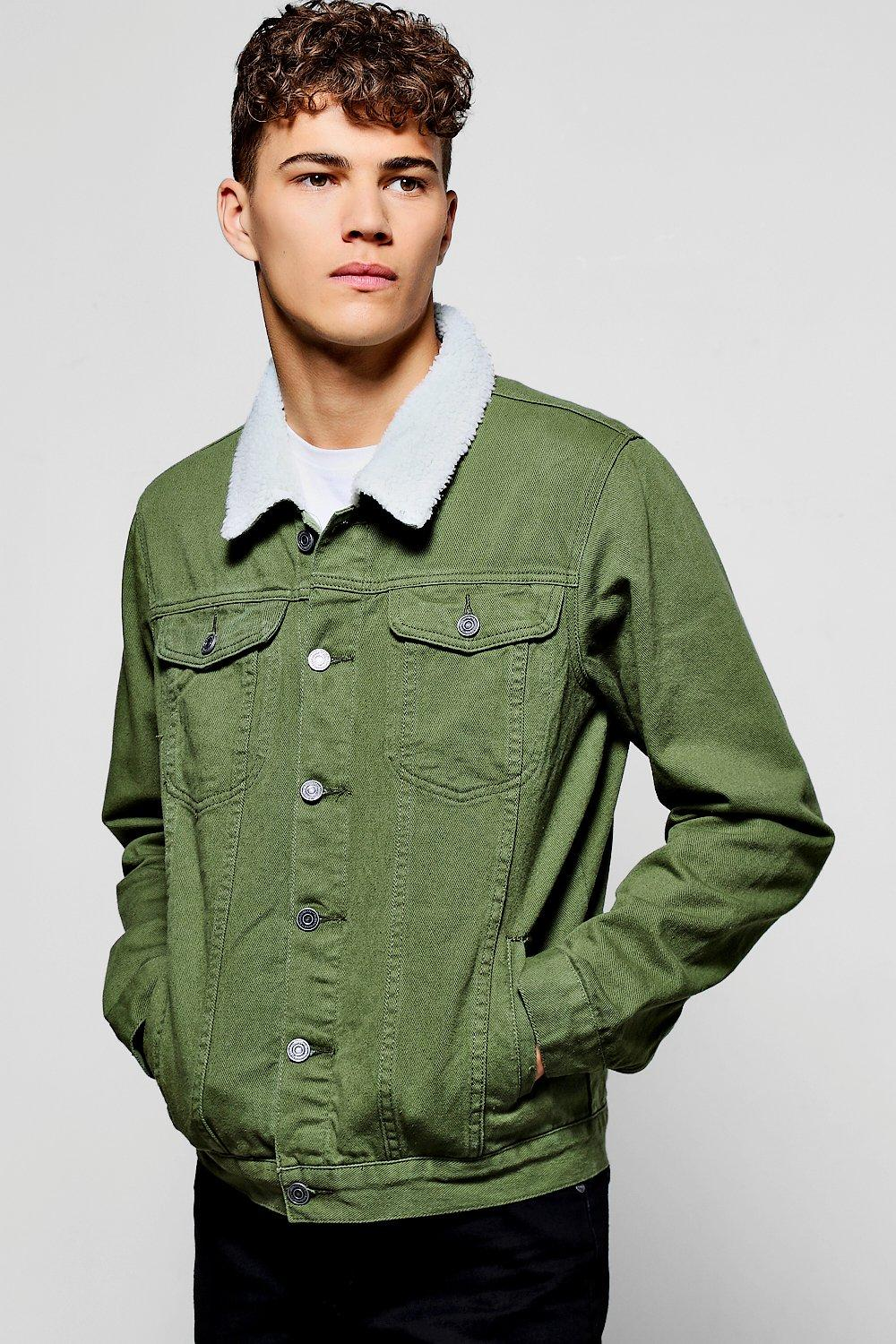 Borg Collar Khaki Denim Jacket | Boohoo