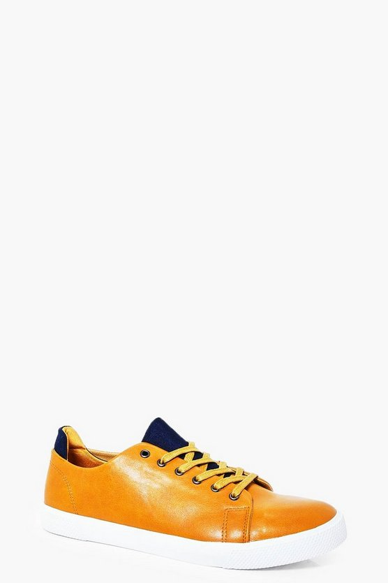 Camel Lace Up Trainers