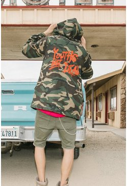 Camo Drawstring Parka With Graffiti Print