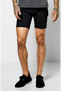 Skinny Stretch Denim Utility Shorts