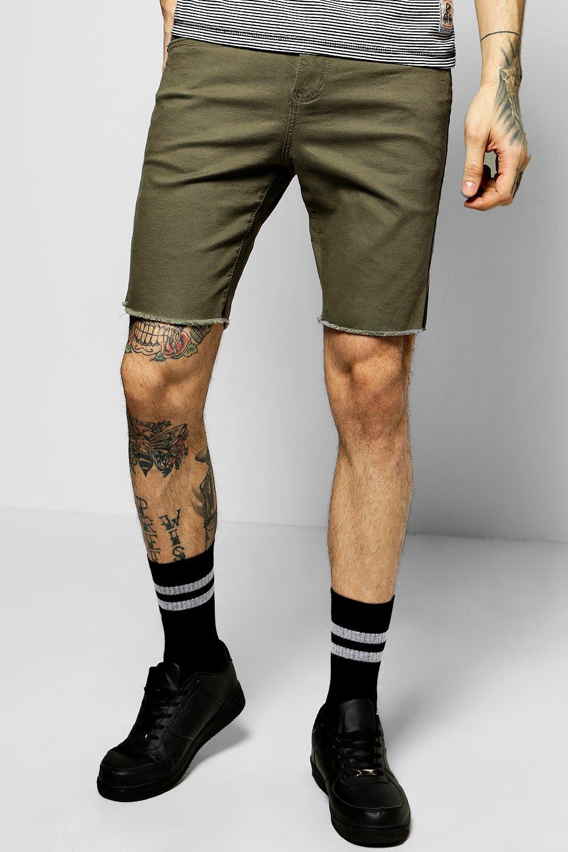 Stretch Denim Shorts With Raw Hem  khaki