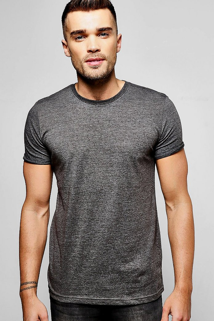Crew Neck T-Shirt With Rolled Sleeve