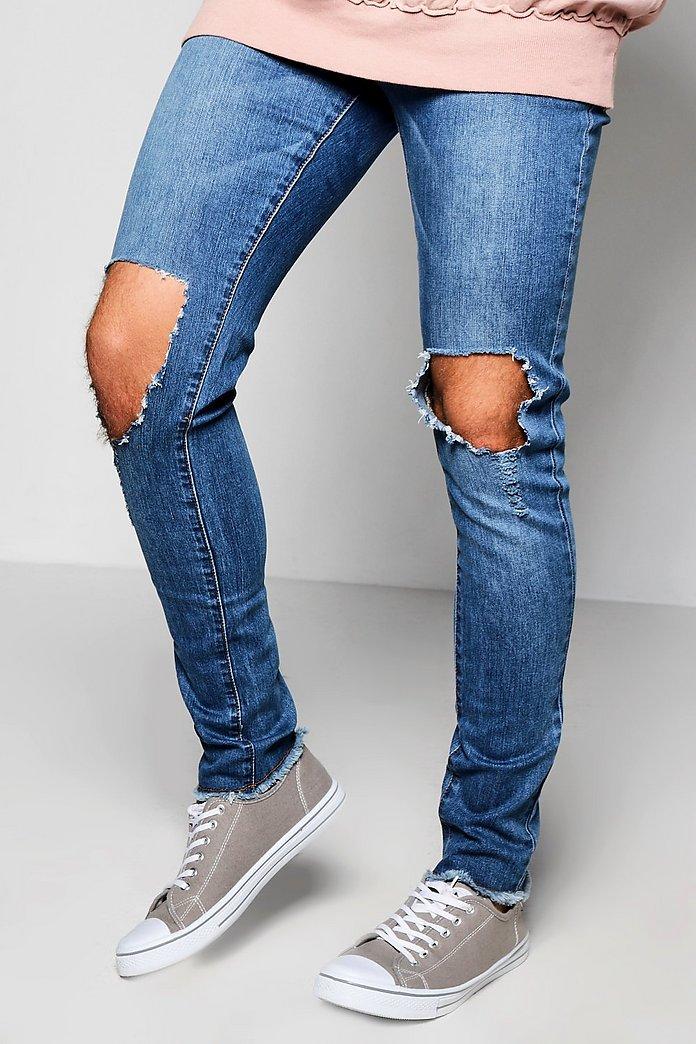 Super Skinny Destroyed Knee Jeans   Boohoo