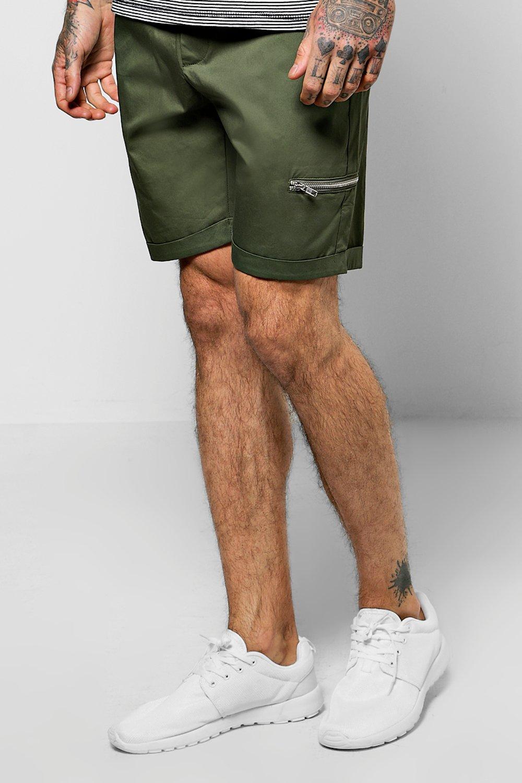 Fit Zip Chino Shorts  khaki