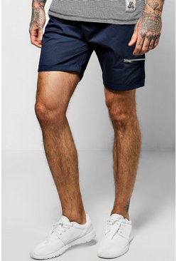 Skinny Fit Zip Chino Shorts