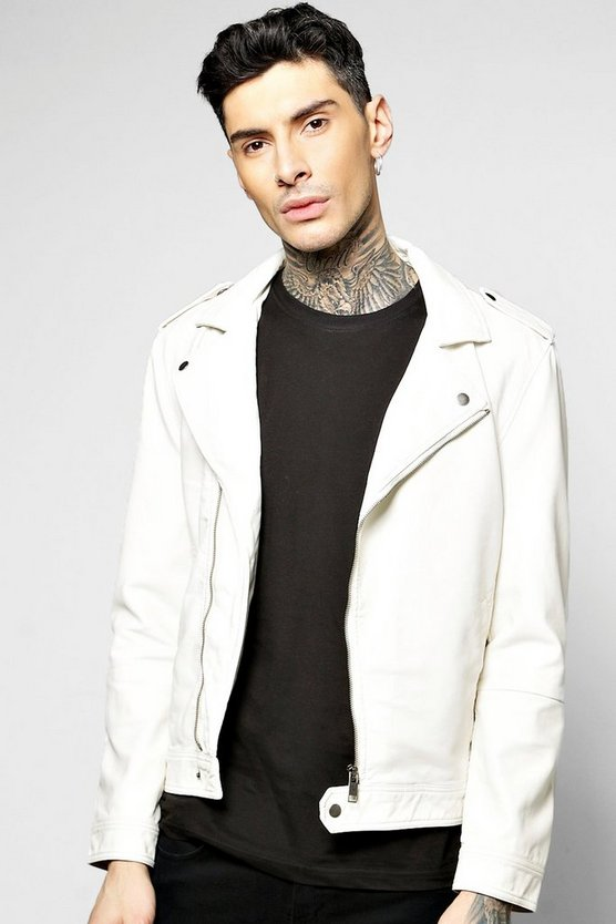 PU Biker Jacket with Zip Detailing