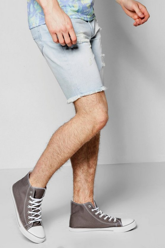 Slim Fit Destroyed Denim Shorts