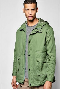 Hooded Fishtail Cotton Parka