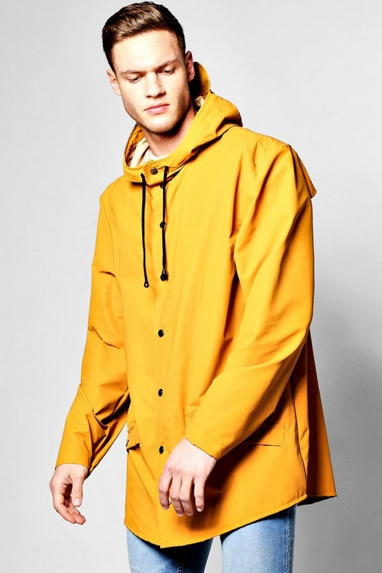 Shower Resistant Longline Hooded Rain Mac