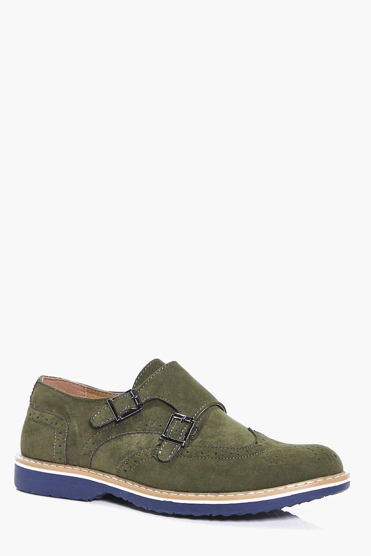 Suedette Monk Shoes  khaki