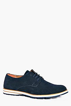 Smart Suedette Derbie Shoe With Contrast Sole